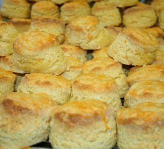 Cheese Scones - used strong white flour, try self raising next time. Used more milk.  Put extra cheese on top.