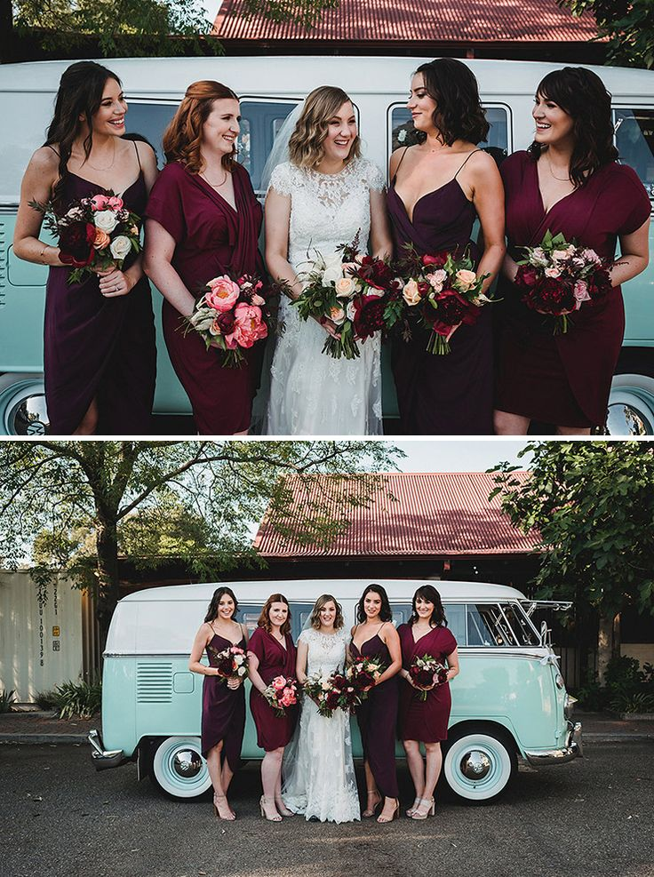 Cranberry mismatched bridesmaid dresses | CJ Williams Photography | See more: http://theweddingplaybook.com/rich-berry-navy-rustic-wedding/
