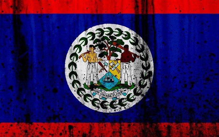 Download wallpapers Belize flag, 4k, grunge, North America, flag of Belize, national symbols, Belize, coat of arms Belize, Belize national emblem