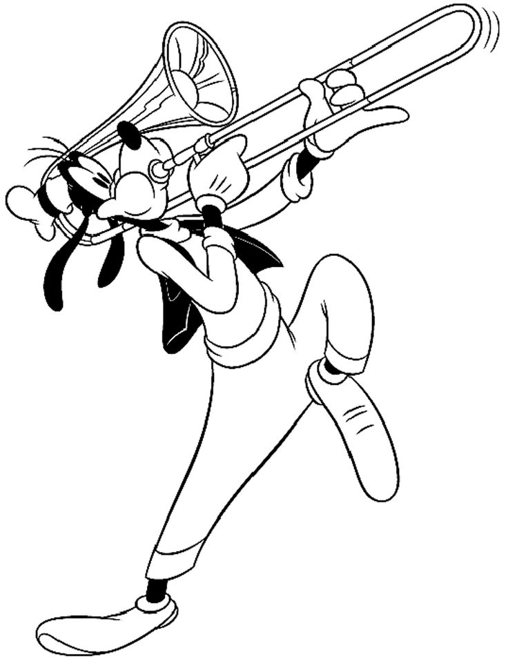 goofy playing music coloring pages for kids printable goofy coloring pages for kids