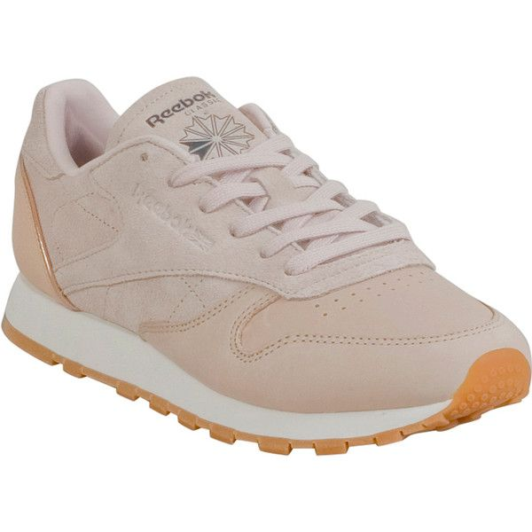 Reebok Classic Leather Golden Neutral Women's Low-Top Sneaker ($80) ❤ liked on Polyvore featuring shoes, sneakers, nude, low profile sneakers, grip trainer, leather sneakers, cushioned shoes and grip shoes