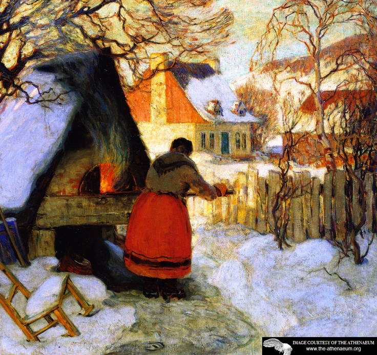 Clarence Gagnon Heating the Oven, Winter Scene (also known as Heating the Bread Oven)