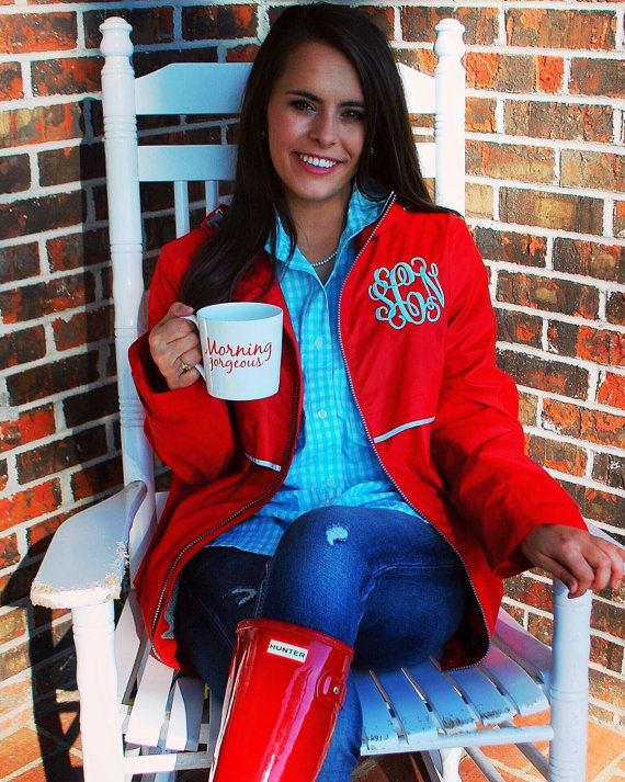 Monogram Rain Jacket Preppy Double by TantrumEmbroidery on Etsy