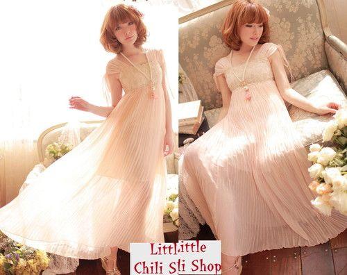 Pretty Kawaii Princess Cute Sweet Dolly Lolita Lace Sexy Long Dress Pink | eBay