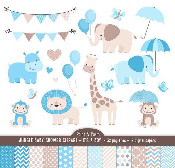 Baby Shower Clip Art Jungle Animals Baby Boy Clipart Etsy In 2021 Jungle Animals Baby Shower Baby Animals Animal Baby Shower