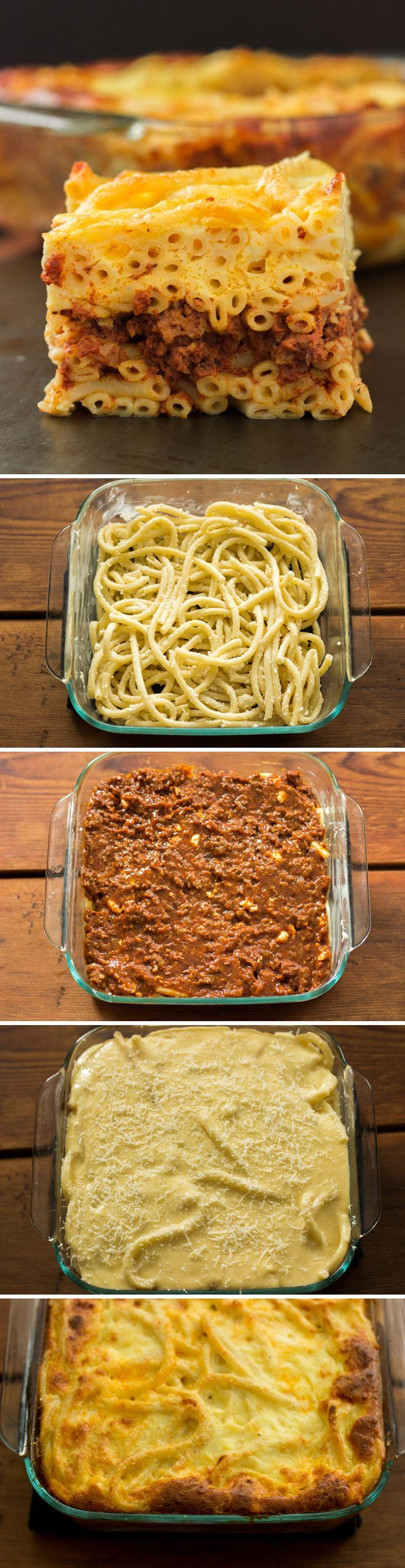 Classic Greek Pastitsio - Tired with regular old lasagna? Spice things up with pastitsio (pronounced pahs-TEET-see-o), the Greek version of lasagna. layered with pasta, meat sauce, spices, cheese, and bechamel.  #Recipe #Dinner #GreekFood