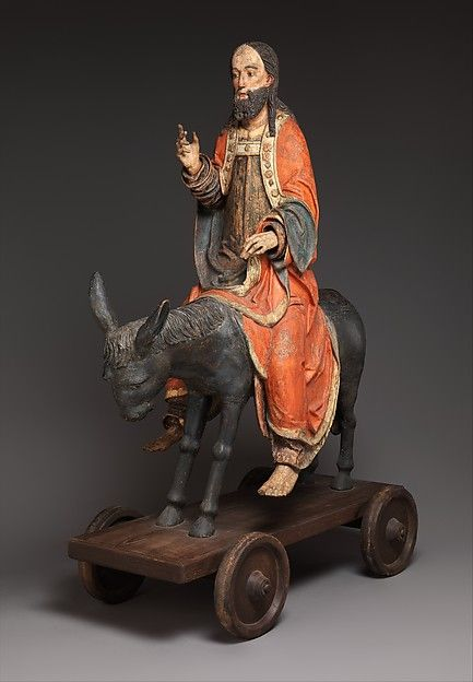 The German word Palmesel (palm donkey) refers to the statue of Jesus on a donkey, mounted on a wheeled platform, which was part of Palm Sunday processions in many German-speaking regions until the Reformation