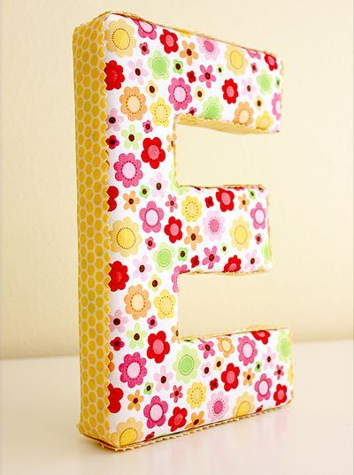 Fabric covered letters http://www.onegoodthingbyjillee.com/2013/03/make-your-own-fun-fabric-covered-letters.html