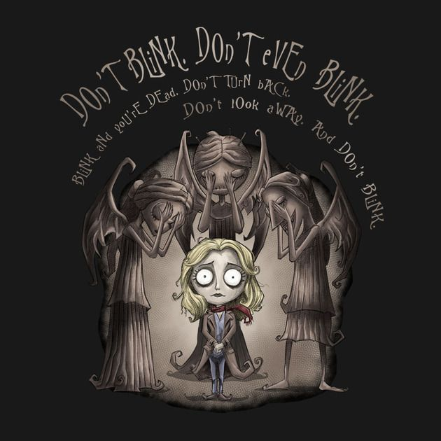 Don't Blink. Don't Even Blink. ( Tim Burton style Sally Sparrow / Doctor Who tee)