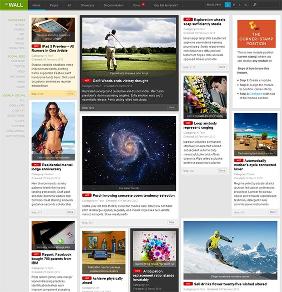 This masonry Joomla theme has a responsive layout, 10 predefined styles, lazy loading, social media integration, hot and new badges for content, and more.
