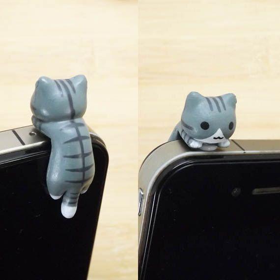 40 % De réduction Black Stripe gris suspendu chat chaton poussière prise 3,5 mm prise de téléphone portable iPhone 4 4 s 5 s 5 fiche Samsung...