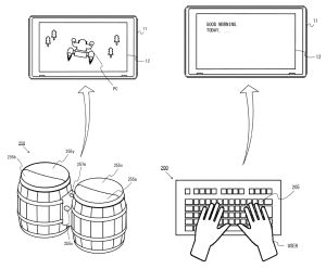 """Nintendo Filed a Switch Patent That Includes the Donkey Konga Drums  Nintendo has filed a patent for the Switch that includes Donkey Konga drums.  The patent was filed in the US in August of 2017 and pertains to a set of """"extended input devices"""" for the Nintendo Switch. It has only been made public today.  Examples shown include a keyboard peripheral and a pair of bongo drums that look similar to the device used in 2004's Donkey Konga for the Nintendo GameCube.   Patent Image for the…"""