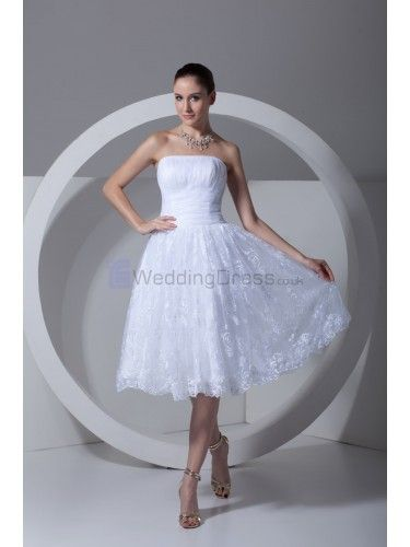 Satin and Lace Strapless Knee Length Corset Wedding Dress