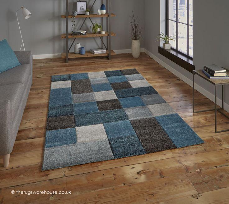 NEW: Nordia Blue Grey Rug, a grey, charcoal & blue geometric pattern modern synthetic rug (machine-woven, polypropylene, 2 sizes) http://www.therugswarehouse.co.uk/modern-rugs3/brooklyn-pembroke-rugs/nordia-blue-grey-rug.html