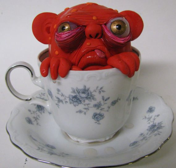 creature from the black tea lowbrow figure art by mealymonster