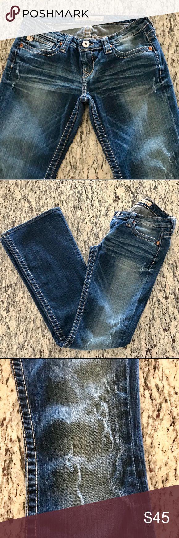 """Big Star Sweet Ultra Low Rise Jean Distressed Big Star Jean. Size 28L. Inseam 32.5"""". Boot Cut leg measures 9.5"""" across Big Star Jeans"""