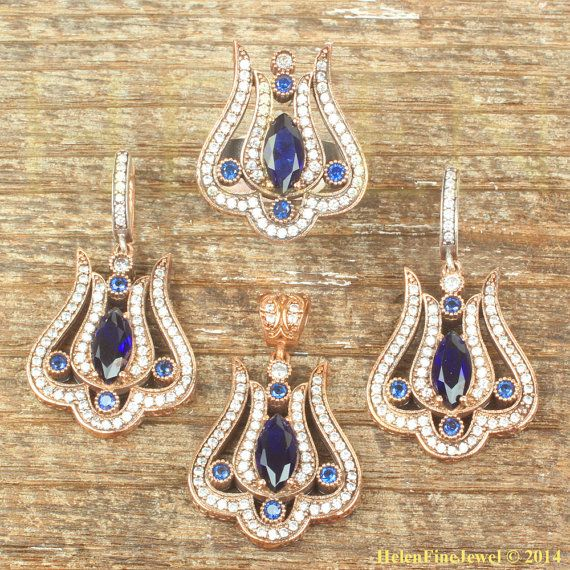 Hurrem Sultan Set Tulip Marquise Sapphire Color by helenfinejewels