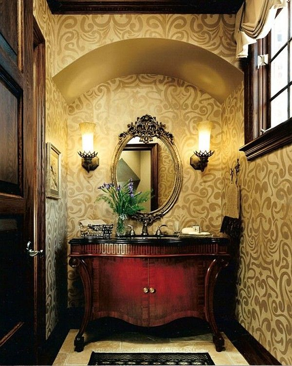 powder bathrooms ideas | powder room guest bathroom decor with floral wallpaper