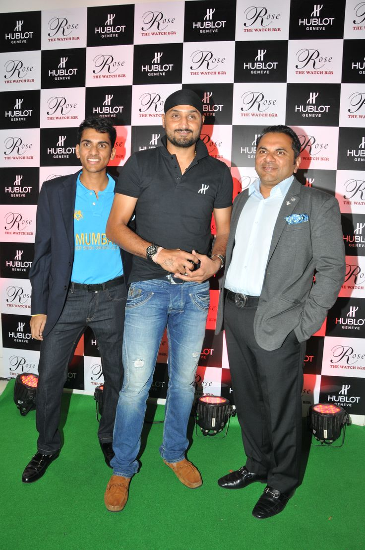 Harbhajan Singh, Mr Biren Vaidya along with his son Arjun Vaidya addresses the media outside Rose - The Watch Bar