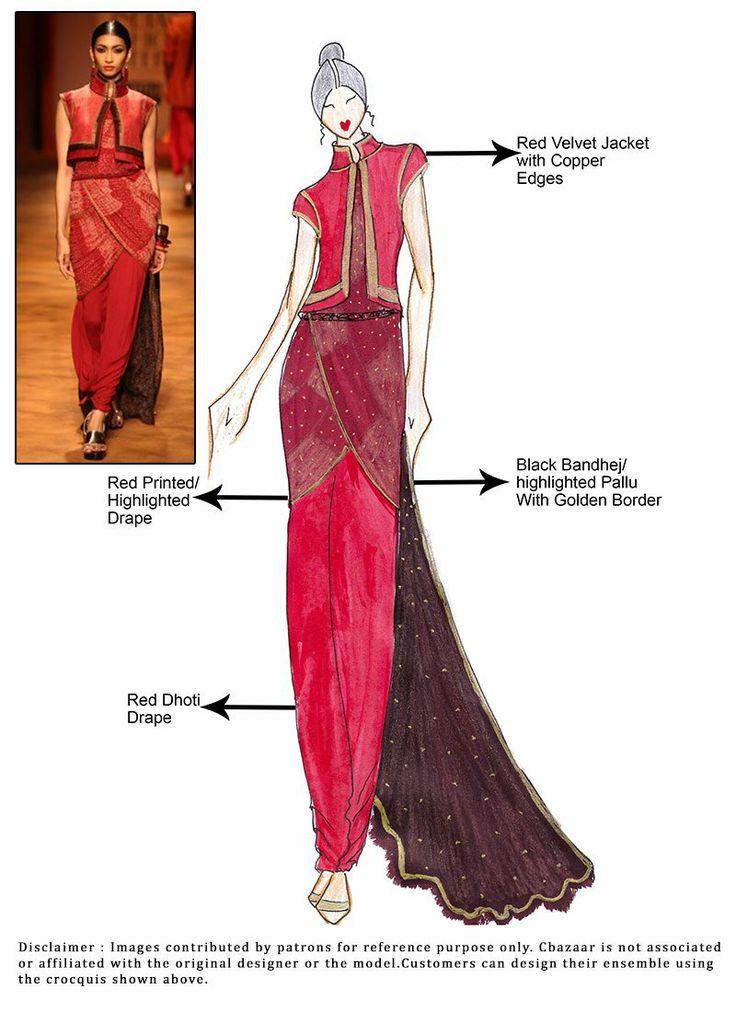 DIY Red And Black Dhoti Style Drape