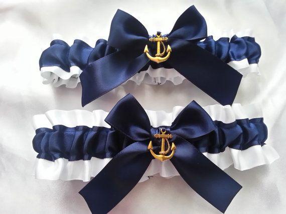 Nautical Wedding Garter SET , beautiful navy and white or ivory Nautical themed garter set gold anchor