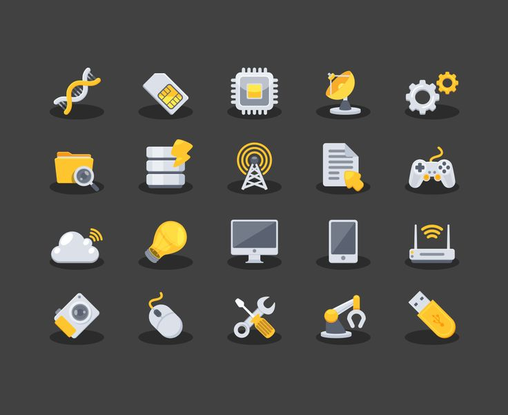 yellow technology icons