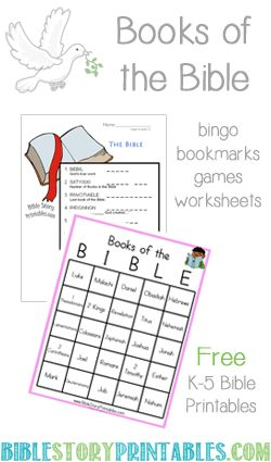 Books of the Bible bingo, word scramble, bookmarks and more!