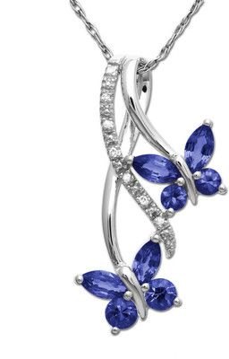 Sapphire  Diamond butterfly necklace