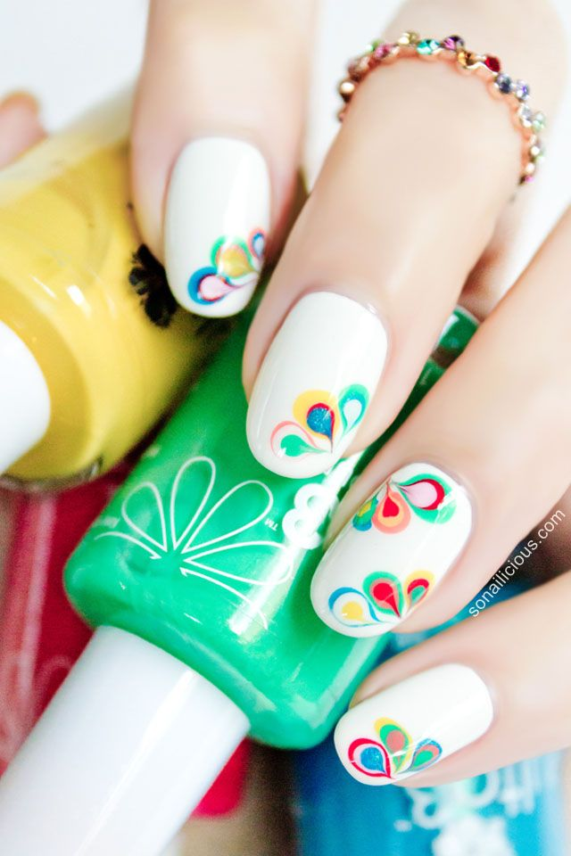beautiful rainbow nail art drag marbling