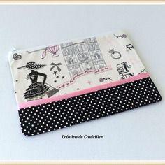 Trousse  à maquillage en coton «la parisienne»  couture fait main