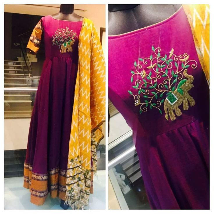 Wine color dress with gold elephants border with a decent embroidery which include elephant!!!! If u like it pin it and Follow me!!
