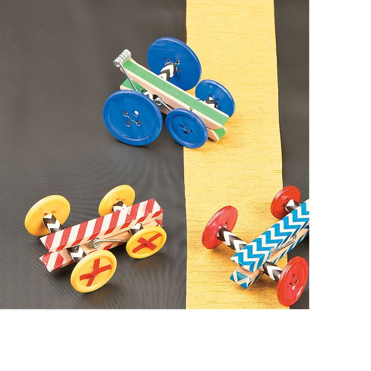 DIY Clothespin Race Car Idea - OrientalTrading.com. Not so interested in buying the supplies from OTC, but this is still a cute DIY.