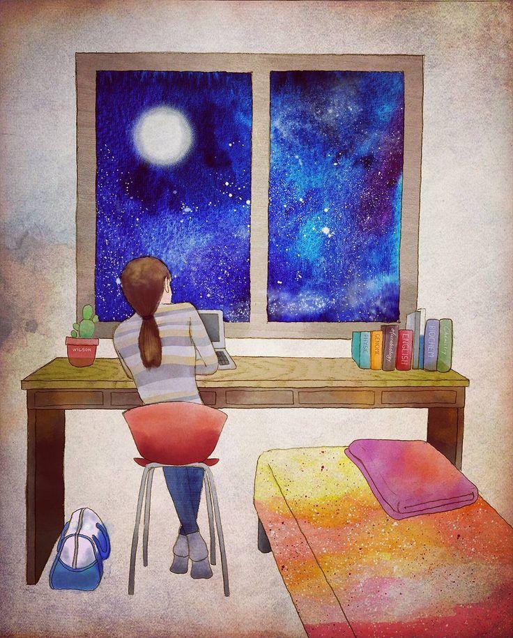 My tiny room 대학시절 살던 자취방이 모티브가 되었습니다  #그림 #일러스트 #일러스트레이션 #우주 #illustration #drawing #painting #galaxy #starrynight #room