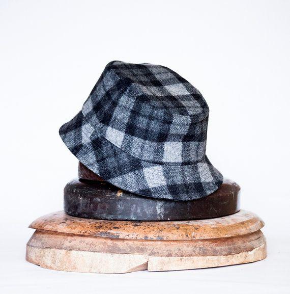 Bucket Hats for Men   Bucket Hat Grouse Hat-plaid woolen cap/ fishing hat for men
