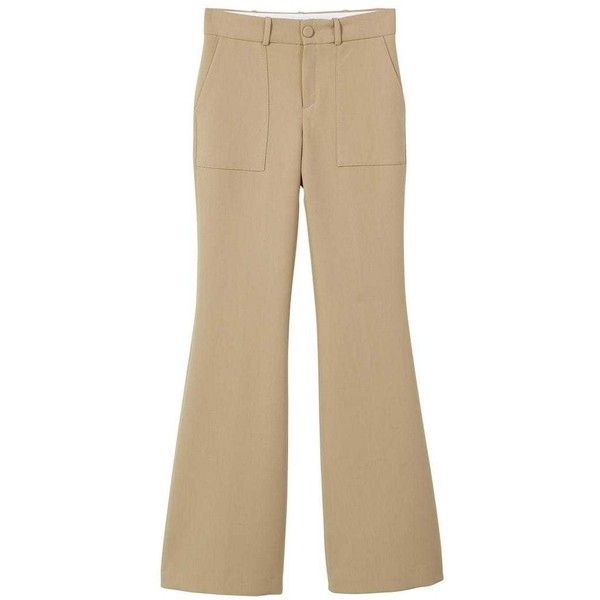 Flared Trousers (€28) ❤ liked on Polyvore featuring pants, medium brown, flare trousers, flare pants, zipper pocket pants, lined pants and mango trousers