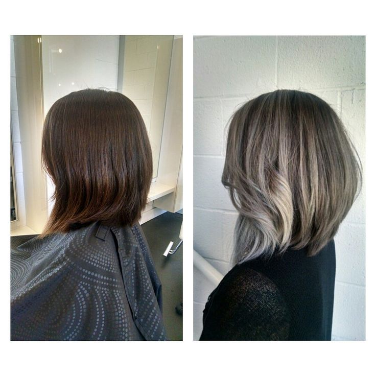 hair style black hair from past shoulders to a lob to silver ombre 3611