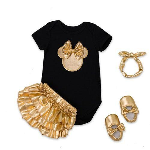 2017 Baby Girl Clothes 4pcs Clothing Sets Black Cotton Rompers Golden Ruffle Bloomers Shorts Shoes Headband  Newborn Clothes - Best price in 10minus