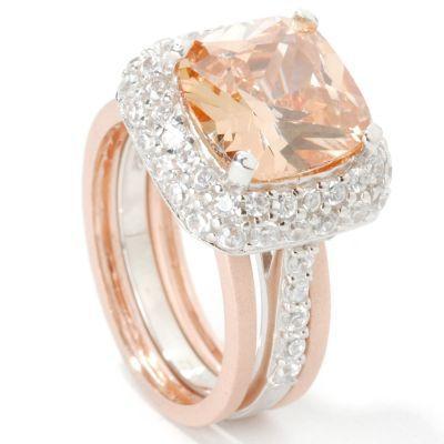 Sterling Silver / Platinum / 18K Rose Gold Champagne Brilliante Ring Set. STERLING SILVER / PLATINUM, 9 $ 84.75