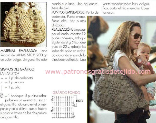 Cómo Tejer Bolso Crochet de Angelina Jolie | Crochet y Dos agujas ...