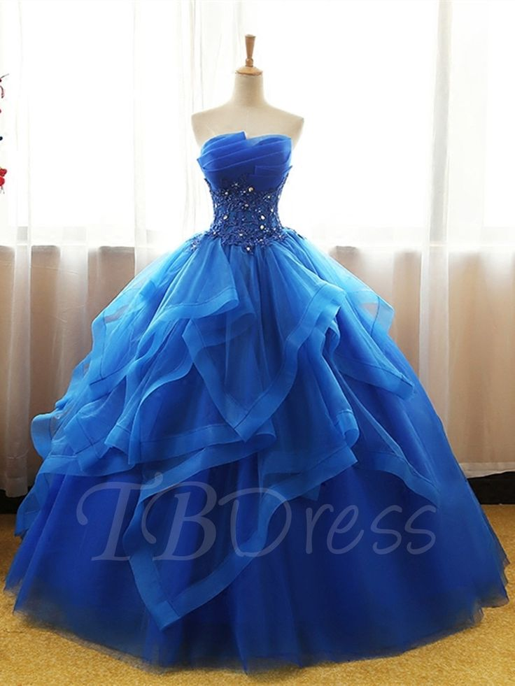 Scalloped-Edge Ball Gown Appliques Beading Floor-L…