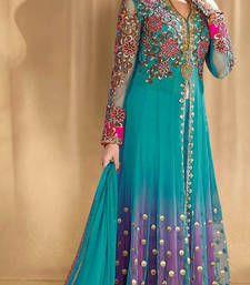 Buy Multicolor net embroidered semi stitched salwar with dupatta anarkali-salwar-kameez online