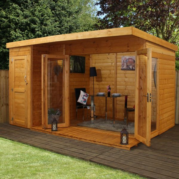 Avon 12' x 8' Cambridge Summer House With Side Shed - Contemporary Summer Houses - Summer Houses