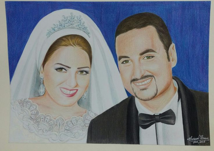 Bride and groom coloured pencils by Susan Isaac