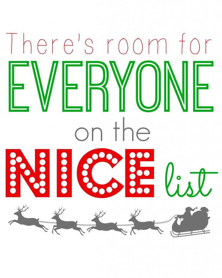 "Free ELF Movie Quote Printable ""There's Room for Everyone on the Nice List""  #Christmas #Printables"