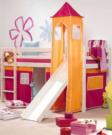 Kids Bed With Slide Thuka Hit White Pine Cabin Children S Bedroom And More Pinterest