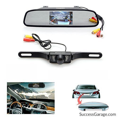 Backup Camera and Monitor KitChuanganzhuo 4.3 Car Vehicle Rearview Mirror Monitor for DVD/VCR/Car Reverse Camera  CMOS Rear-view License Plate Car Rear Backup Parking Camera With 7 LED Night Vision