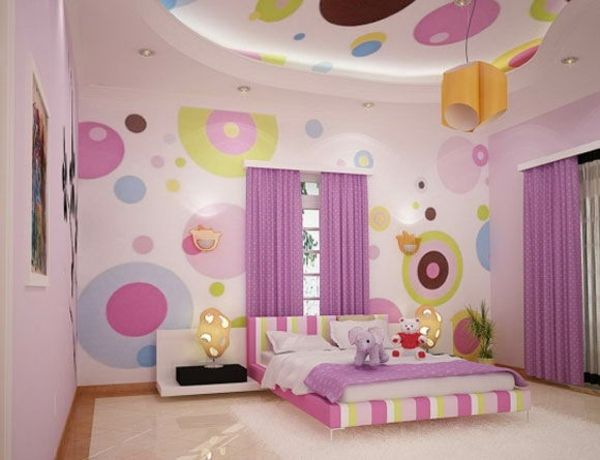 pink yellow purple wall decoration bedroom for little girls interior design