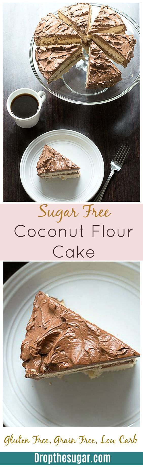 Sugar Free Coconut Flour Cake – a two layer vanilla flavored coconut flour cake …