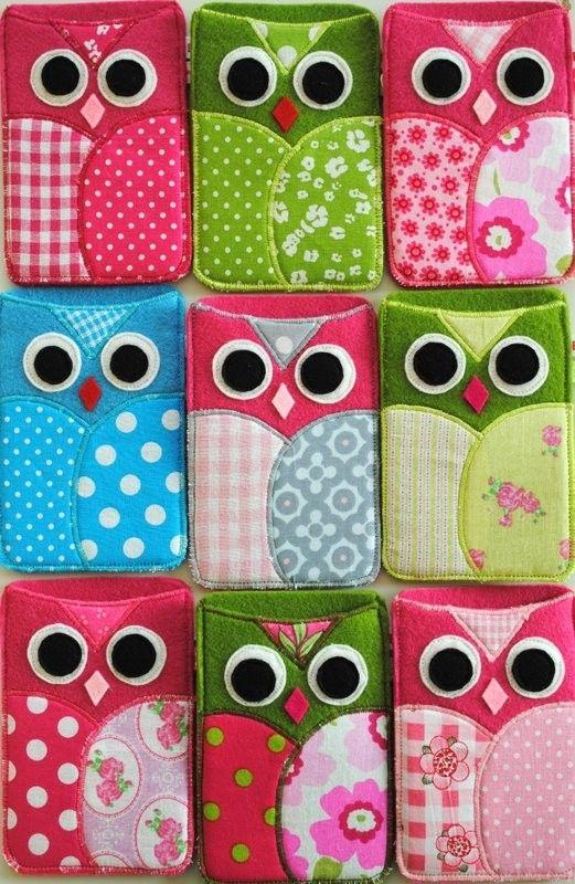 owl felt iphone pouches! cute!