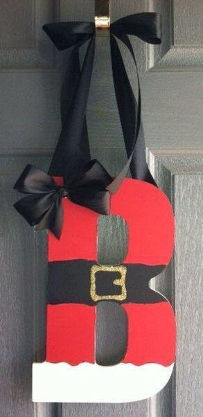 """Get ready for some cute Holiday gifts and decorations coming your way! I am back to work on some craftiness just for the holidays! First up ... Santa Letter Wreath ~ $15.00 13"""" Wood Letter, hand painted with either black ribbon or burlap ribbon accent This would make a great teacher gift, neighbor gift or perfect on your own front door! *Taking orders now ... comment below or send me a message! :)"""